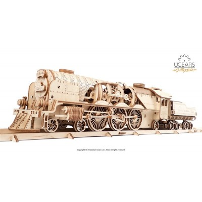 Ugears V-Express Steam Train with Tender mechanical model...