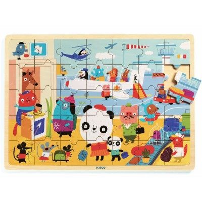 Djeco - Puzzlo Airport wooden puzzle 35 pces