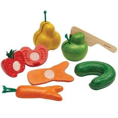 Plan Toys - Assortiment 5 Fruits et Légumes biscornus