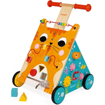 Janod - Multi-activity cat trolley (wood)