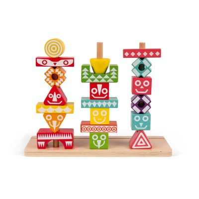 Janod - 52 Edutotem stacking pieces (wood)