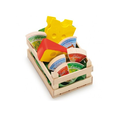 ERZI - Small crate of 9 cheeses - wooden toys for dinette