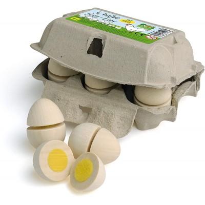 ERZI - Wooden cutting egg Box of 6 eggs with velcro
