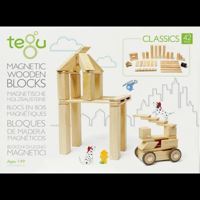 Tegu - Jeu magnétique en bois nature 42 pièces