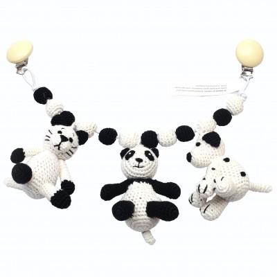 NatureZOO Grand mobile pour poussette - Chat, Panda et Chien