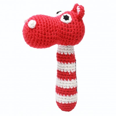 NatureZOO Rattle stick - Mrs. Hippo