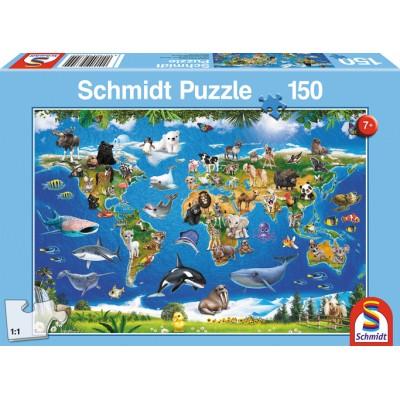 Schmidt Puzzle Mappemonde des animaux 150 pièces