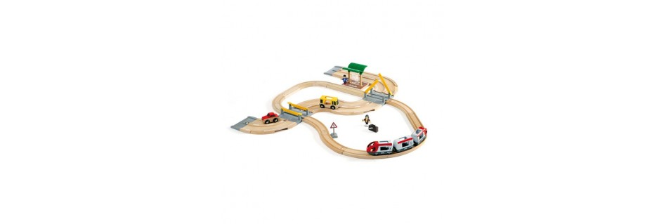 Wooden trains, vehicles and garages